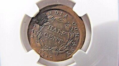 Straits Settlements Half Cent 1845-WW broadstruck ERROR - NGC graded