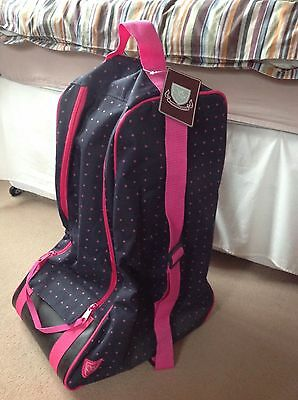 NEW Sherwood Forest Navy Polka Dot Long Riding Boot / Wellington Boot Bag