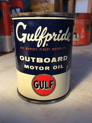 Vintage Gulfpride Outboard Motor Oil Tin Can Advertising Full Sealed Gulf Clean
