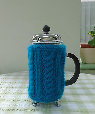 Hand Knitted Cable Design Coffee Cafetiere Cosy Heart Buttons 8 Cup