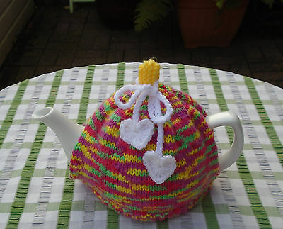 Hand Knitted Hearts Tea Cosy For A Medium Teapot