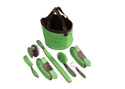 Horse Grooming Kit Tote 8 Piece Tough 1 Great Grip Tools Care Green Gift Set New