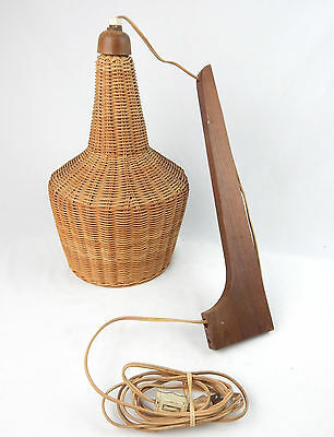 Mid Century Modern Swing Arm Wicker Lamp / Light Wall Mount Tested & Working