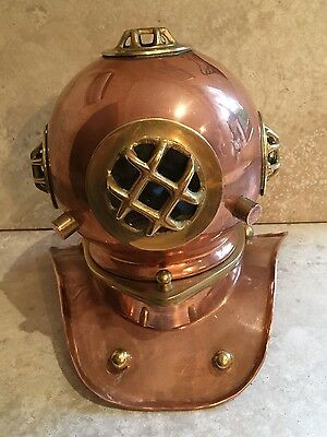 Copper and Brass Nautical Diving Helmet for Display