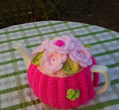 Hand Knitted Flower And Hearts  Tea Cosy For A Medium Teapot Crochet Butterfly
