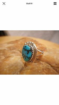 Navajo Sterling Silver Turquoise Ring Size 6 1/4