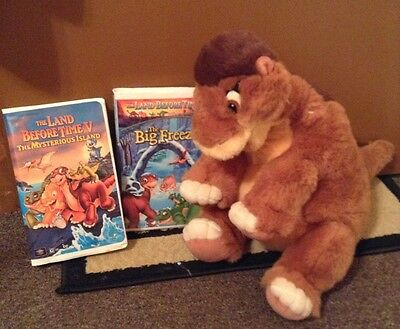 Vintage 1988 The Land Before Time 16 Inch Gund Little Foot Plush & 2 Vhs Movies