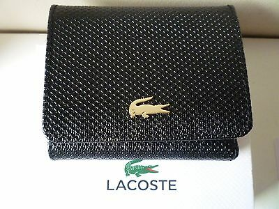 LACOSTE Men's Black Leather Trifold Wallet with Coin Pocket New in Box