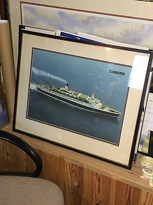 Rare Cunard QE2 Travel Agents Framed Photograph From 1970's