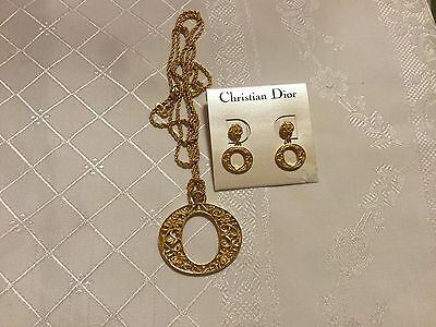 Classic Vintage Dior Pendant on Chain with Matching Earrings....BNNT