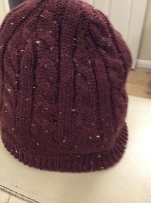 Mans Chestnut Colour  Flecked With Cream Knitted Hat Size S