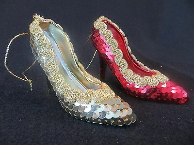 Lot Of 2 Sequined High Heel Shoes Christmas Ornaments - Shoe Christmas Ornament