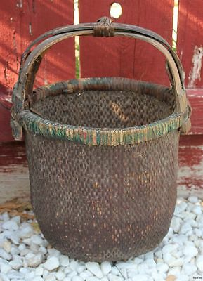"Antique Chinese Oval Woven Grain Basket Triple Crossed Wood Handle 17""h x 11""w"
