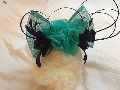 Beautiful Jacques Vert Fascinator Turquoise and Navy
