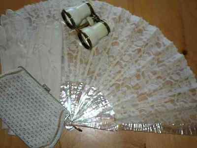 Collection of Vintage Lace Fan, Evening Purse,Leather Gloves & Opera Glasses