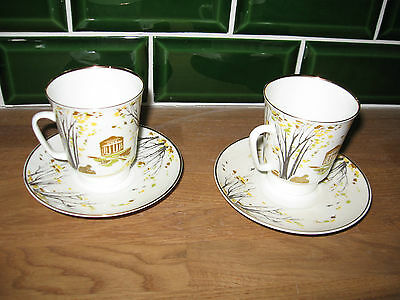 2 x Collectable celebrations tea cups and saucers by Lomonosov