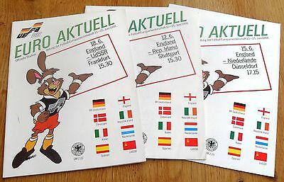 1988 European Championships England V Holland Russia Ireland Official Programmes