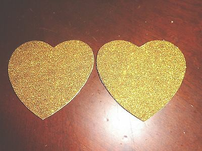 Womens Pasties/ Nipple Covers Water Resistant Gold Glitter Hearts