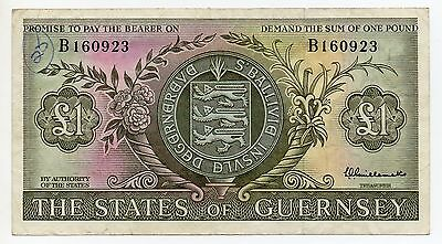 THE STATES OF GUERNSEY ~ £1 BANKNOTE ~ L.A.GUILLEMETTE ~ B 160923 ~ c 1969.