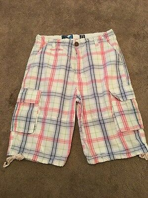 Men Checked Cargo Shorts 30inch Waist VGC