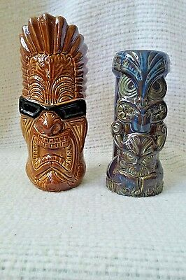 "2 Tiki Mugs, His And Hers, Blue 7"", Brown Gods, The Tikinator 8.5"","