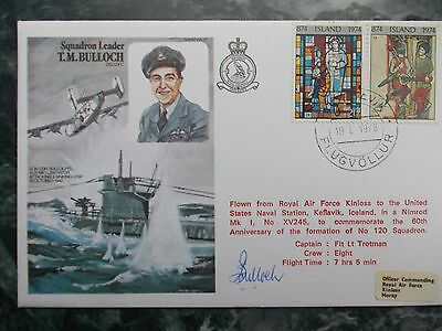 Rafm Ha22 Sqn Ldr Terence Bulloch Dso*, Dfc* Signed Own Historic Aviators Cover