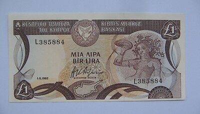 Cyprus £1  Pound Banknote 1-11-1982  Error _Uncirculated