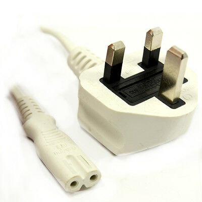 WHITE C7 IEC FIGURE OF FIG 8 MAINS POWER CABLE LEAD TV AUDIO  2Mtr Approx