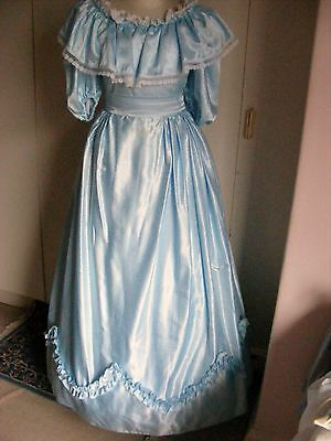 Vintage theatrical Victorian style ball gown dress pale blue puffed sleeve s 10