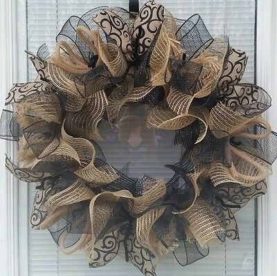 sale EVERYDAY ALL OCCASION JUTE DECO MESH WREATH BLACK AND NATURAL