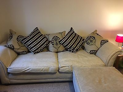 Cream/ Light Beige 4 Seater Sofa With Chair And Foot Rest
