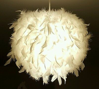 UNIQUE White Real Feather Light Lamp shade Light Large Easy Fit Pendant New