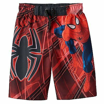 Marvel Ultimate Spider-Man Boys Swim Trunks NWT Sizes 4 5 or 6 w/ UV Protection