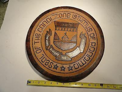 Vintage Seal Of Panama Canal Zone Isthmus Hand Carved Wood Plaque