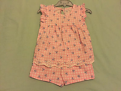 Baby Girls Clothes pink/white checked short pyjama set age 18-24 months