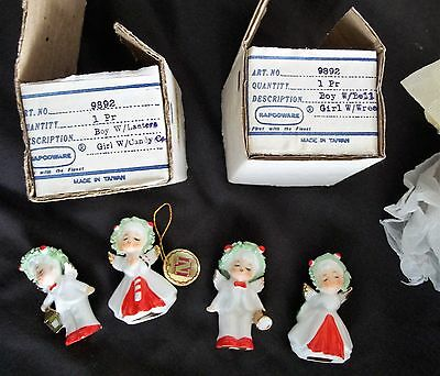 Two Sets of NAPCO WARE CHRISTMAS Angels Boy and Girl Lantern Bell Wreath Cane