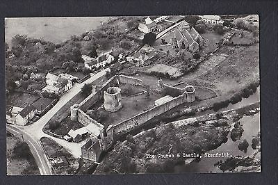 Original Real Photo Postcard The Church & Castle From The Air Skenfrith Gwent