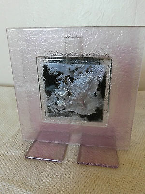 Art Textured Purple Glass Square Vase Stand Composition Inclusion