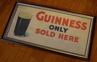 BIRRA GUINNESS Only Sold Here QUADRO PUB 67x36 Vintage Beer Advertising Frame