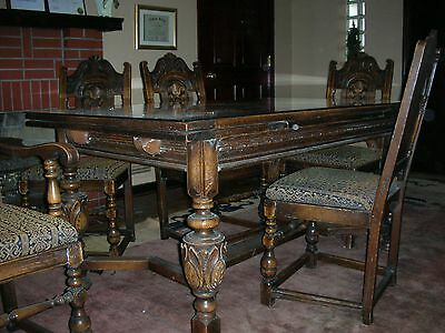 Jacobean / Tudor Style 9+Piece Dining Room Suite With Intricate Design & Detail