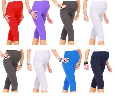 Maternity Leggings Cropped 3/4 Length Cotton Very Comfortable Size 4-18 mtr3/4