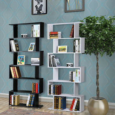 6 Tier Wooden S Shape Bookcase Stand Rack Ultra Display Unit Shelf Storage