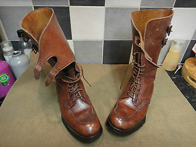 Stunning Ww2 British Officers Double Buckle Boots Size 8