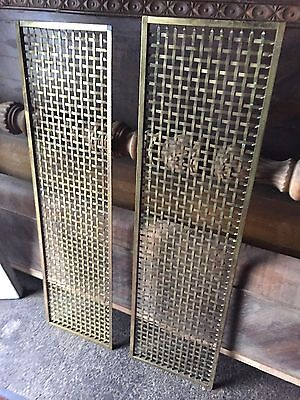 2 Large Antique Art Craft Deco Victorian Brass Heating Grate Vent Register Cover