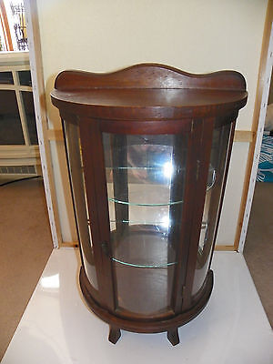 Antique Wooden Stand Up Curio Cabinet Mirrored With Rounded Glass Front
