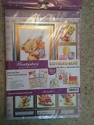 Hunkydory deluxe card collection.Birthday bear.12 sheets.new