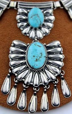 Navajo Sterling Silver Last Chance Mine Turquoise Necklace & Earrings Set