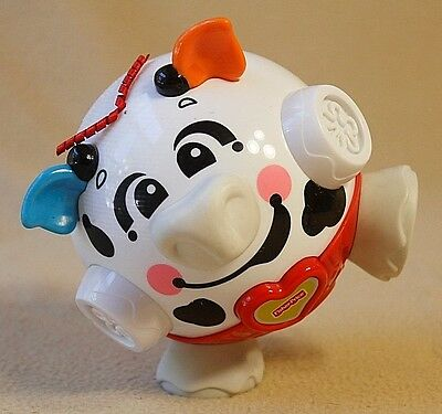 """Mattel 2005 Fisher Price Giggle & Bounce Cow, Vibrates, Laughs, Music, about 5""""T"""