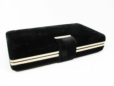 VTG Travel Jewelry Earring Watches Storage Box Organizer Hard Case Black Velvet