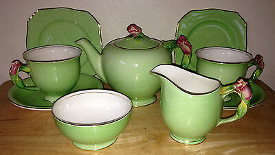 Royal Winton Grimwades Green Rosebud Tea For Two Teapot Cups Etc